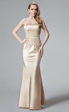Trompete/Sereia Coração Longos Charmeuse Vestido de festa com Renda (017004466)