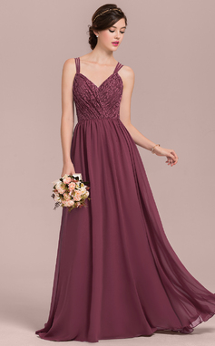 A-Line/Princess Sweetheart Floor-Length Chiffon Lace Bridesmaid Dress (007126449)