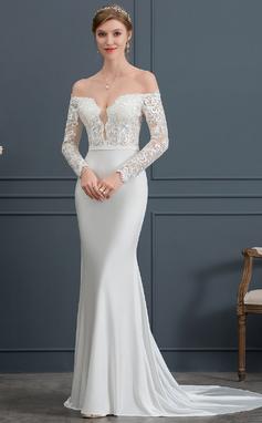 Раструб/Платье-русалка Выкл-в-плечо Церемониальный шлейф Jersey Свадебные Платье (002171960)