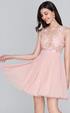 A-Line/Princess Scoop Neck Short/Mini Chiffon Homecoming Dress (022124837)