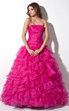 Corte de baile Sin tirantes Hasta el suelo Organdí Vestido de baile de promoción con Cascada de volantes (018135541)