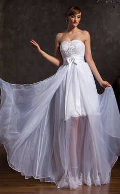 A-Line/Princess Sweetheart Floor-Length Organza Satin Prom Dress With Lace Beading Bow(s) (018015107)