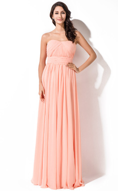 A-Line/Princess Sweetheart Floor-Length Chiffon Bridesmaid Dress With Ruffle (007055005)