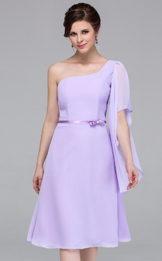 A-Line/Princess One-Shoulder Knee-Length Chiffon Bridesmaid Dress (007037217)