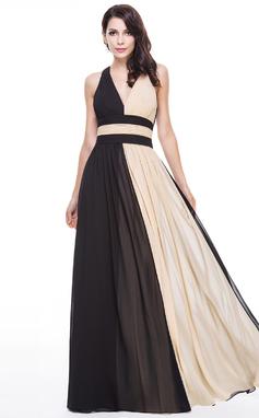 Vestidos princesa/ Formato A Decote V Longos De chiffon Vestido de festa com Pregueado (017056130)