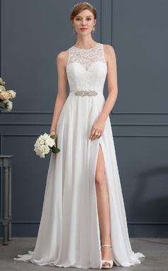 Corte A/Princesa Escote redondo Barrer/Cepillo tren Gasa Vestido de novia con Cuentas Apertura frontal (002171941)