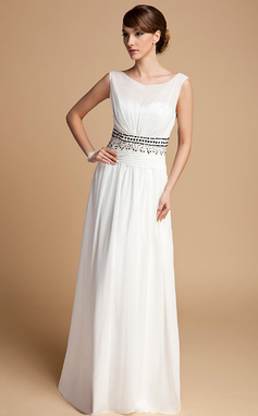 A-Line/Princess Scoop Neck Floor-Length Chiffon Mother of the Bride Dress With Ruffle Beading (008014713)