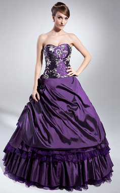 Ball-Gown Sweetheart Floor-Length Taffeta Quinceanera Dress With Embroidered Beading Sequins Cascading Ruffles (021014982)