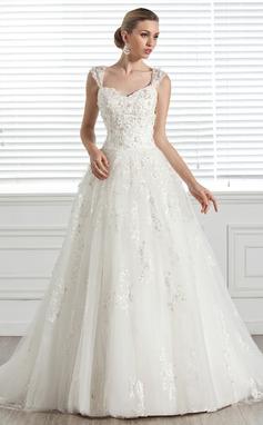 De baile Coração Cauda de sereia Tule Vestido de noiva com Bordado Apliques de Renda fecho de correr (002005283)