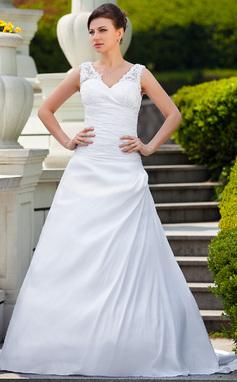 A-Line/Princess V-neck Court Train Taffeta Wedding Dress With Ruffle Appliques Lace (002001650)