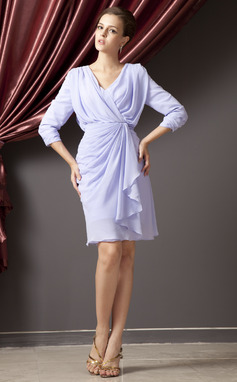 Sheath/Column V-neck Knee-Length Chiffon Mother of the Bride Dress With Cascading Ruffles (008014252)