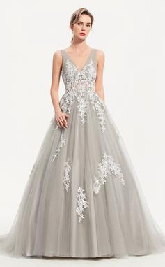 Платье Для Балла/Принцесса V-образный Sweep/Щетка поезд Тюль Вечерние Платье (017186125)