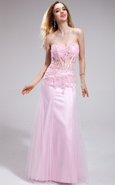 Sheath Sweetheart Floor-Length Tulle Charmeuse Prom Dress With Lace Sequins (018025264)
