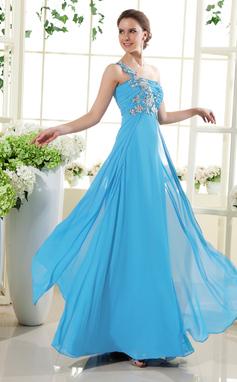A-Linie/Princess-Linie One-Shoulder-Träger Bodenlang Chiffon Festliche Kleid mit Rüschen Perlen verziert Applikationen Spitze (020015432)