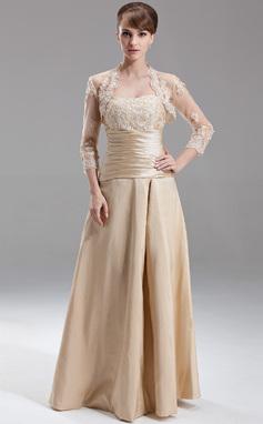 Vestidos princesa/ Formato A Coração Longos Tafetá Vestido de madrinha com Pregueado Bordado Apliques de Renda (007002095)