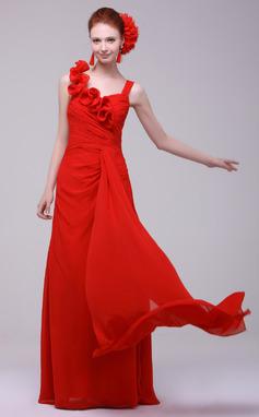 Vestidos princesa/ Formato A Coração Longos De chiffon Vestido de Férias com Pregueado (020016171)