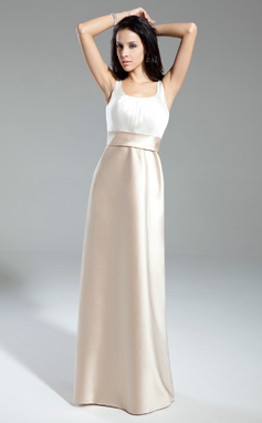 A-Line/Princess Scoop Neck Floor-Length Satin Bridesmaid Dress With Ruffle Bow(s) (007014859)