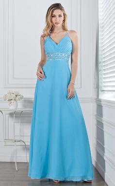 Corte A/Princesa Escote en V Hasta el suelo Chifón Vestido de baile de promoción con Volantes Bordado (018002658)