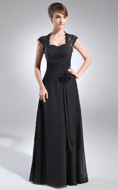 Corte A/Princesa Escote corazón Hasta el suelo Chifón Encaje Vestido de madrina con Volantes Bordado Flores (008006153)