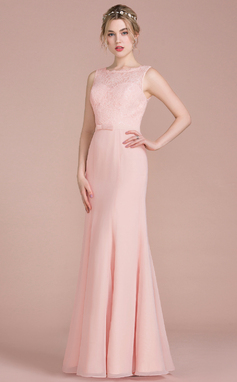 Trumpet/Mermaid Scoop Neck Floor-Length Chiffon Lace Bridesmaid Dress With Bow(s) (007104708)