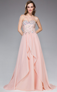 A-Line/Princess Sweetheart Sweep Train Chiffon Prom Dress With Beading Sequins Cascading Ruffles (018047248)