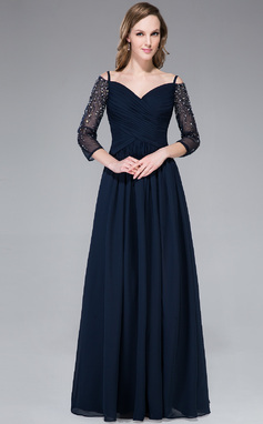 Vestidos princesa/ Formato A Sem o ombro Longos De chiffon Vestido de festa com Pregueado Bordado Frente aberta (017045190)