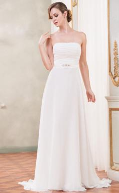 Corte A/Princesa Estrapless Barrer/Cepillo tren Chifón Vestido de novia con Volantes Bordado (002051624)