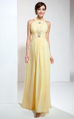 A-Line/Princess Halter Floor-Length Chiffon Prom Dress With Ruffle Beading (018020617)