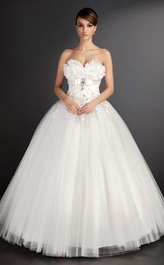 Платье для Балла В виде сердца Длина до пола Тюль Свадебные Платье с кружева Бисер блестками (002015490)