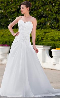A-linjeformat Hjärtformad Court släp Taft Bröllopsklänning med Rufsar Spetsar Pärlbrodering (002012023)