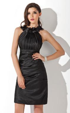 Платье-чехол Круглый Длина до колен Шармёз Коктейльные Платье с Рябь Цветы (016021272)