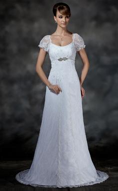 Forme Empire Col rond Traîne moyenne Dentelle Robe de mariée avec Emperler (002000214)