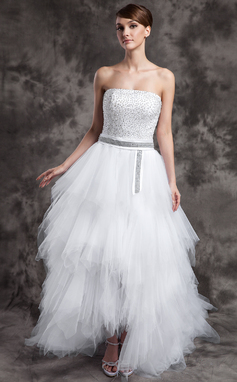 A-Line/Princess Strapless Asymmetrical Satin Tulle Prom Dress With Beading Sequins Cascading Ruffles (018015016)
