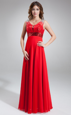 A-Line/Princess Scoop Neck Floor-Length Chiffon Sequined Prom Dress With Ruffle Beading (018016856)
