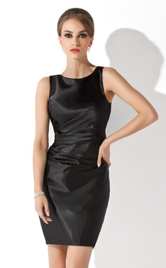 Sheath/Column Scoop Neck Short/Mini Charmeuse Mother of the Bride Dress (008013953)