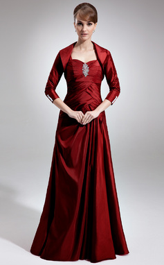 A-Line/Princess Sweetheart Floor-Length Taffeta Mother of the Bride Dress With Ruffle Beading (008006513)