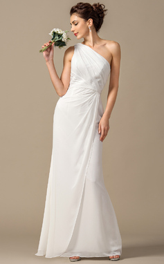 Sheath/Column One-Shoulder Floor-Length Chiffon Bridesmaid Dress With Ruffle (007068385)