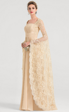 A-Line/Princess Square Neckline Floor-Length Chiffon Evening Dress With Ruffle Beading (017149490)