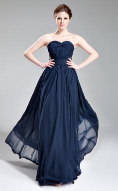 Vestidos princesa/ Formato A Coração Longos De chiffon Vestido de festa com Pregueado Bordado (017019741)
