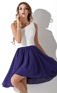Vestidos princesa/ Formato A Um ombro Coquetel De chiffon Vestido de boas vindas com Pregueado (022009151)