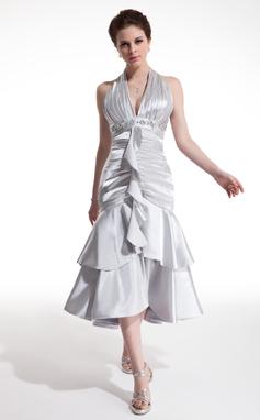 Vestidos princesa/ Formato A Cabresto Comprimento médio Charmeuse Vestido de cocktail com Bordado Babados em cascata (016021207)