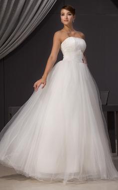 Трапеция/Принцесса Без лямок Длина до пола Тюль Свадебные Платье с Рябь Бисер (002014470)