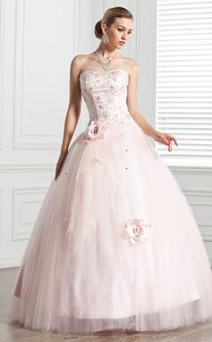 Corte de baile Novio Hasta el suelo Tul Vestido de baile de promoción con Cuentas Flores (018135539)