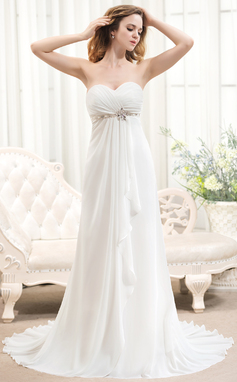 A-Line/Princess Sweetheart Sweep Train Chiffon Wedding Dress With Beading Cascading Ruffles (002054368)