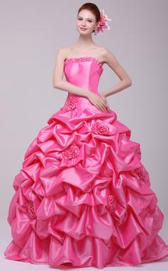 Платье для Балла В виде сердца Длина до пола Тафта Пышное платье с Рябь Цветы (021016170)