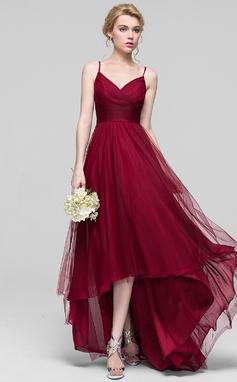 Трапеция/Принцесса V-образный асимметричный Тюль Платье Подружки Невесты с Рябь (007090206)