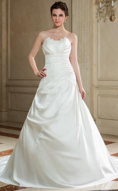 A-Line/Princess Scalloped Neck Chapel Train Satin Wedding Dress With Ruffle Beading Sequins (002000605)