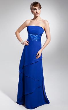 Empire Strapless Floor-Length Chiffon Bridesmaid Dress With Ruffle (007014671)
