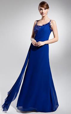 A-Linie/Princess-Linie U-Ausschnitt Bodenlang Chiffon Festliche Kleid mit Rüschen Perlen verziert (018014694)