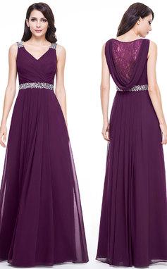 Vestidos princesa/ Formato A Decote V Longos Tecido de seda Vestido de festa com Renda Beading (017056118)